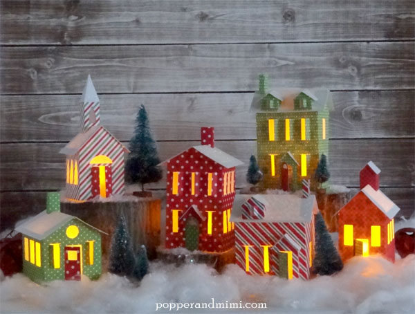 make a tea light winter village paper craft to decorate your house during the holidays - Lights For Christmas Village