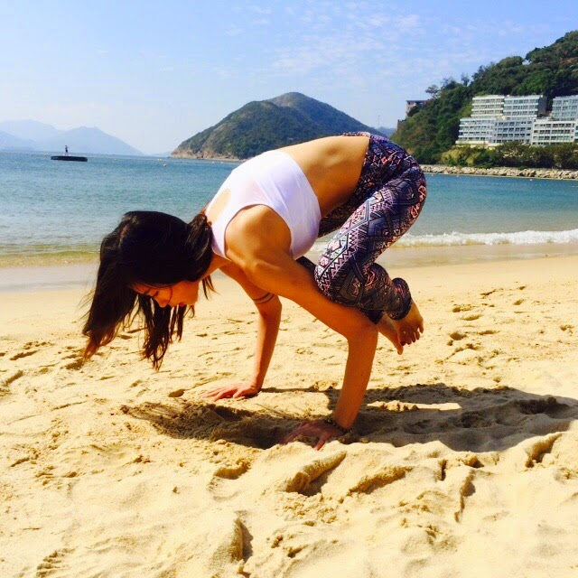Crow and Crane Pose Beach Yoga in Hong Kong