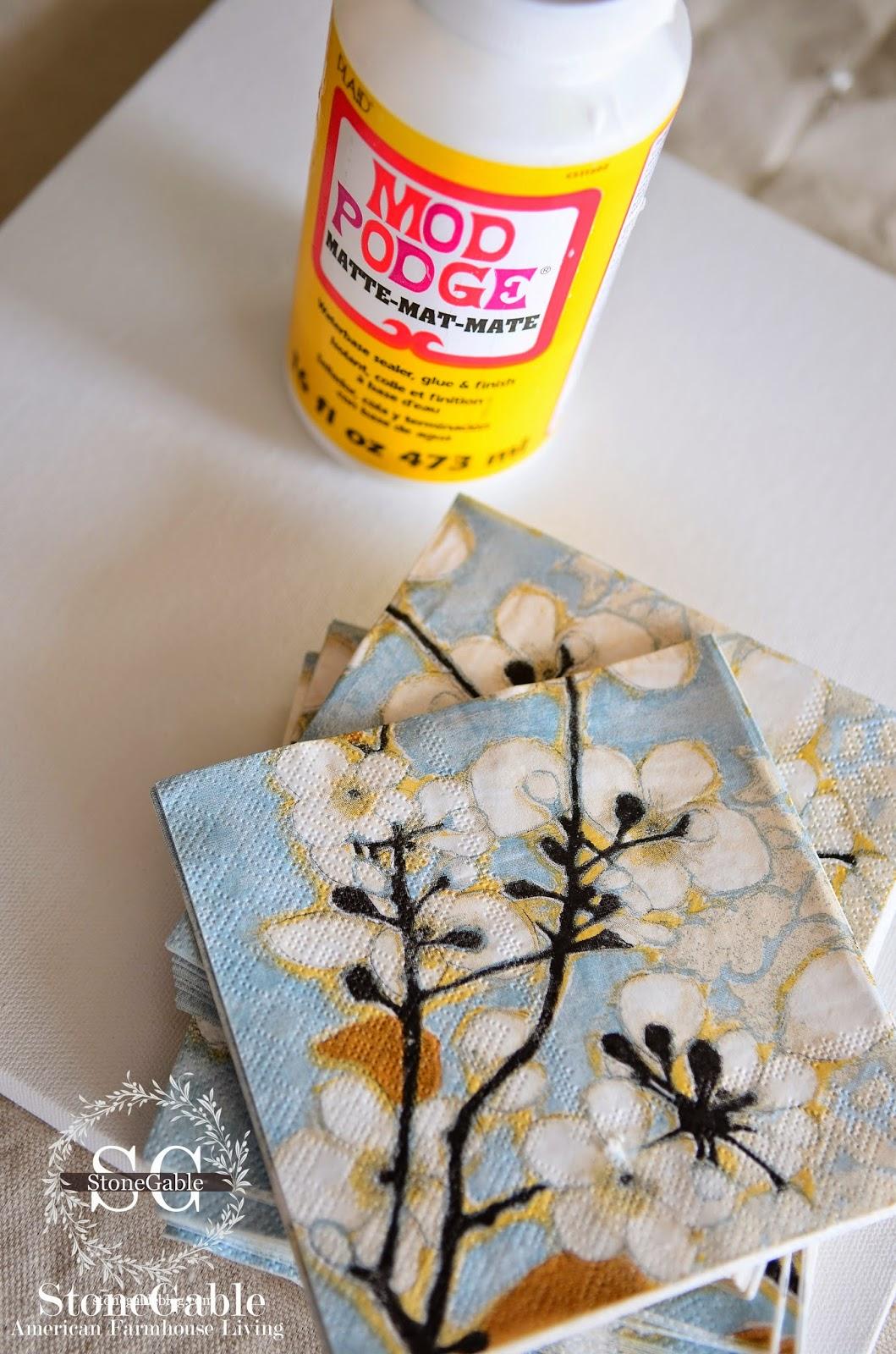 Torn Napkin Art Tiles Diy Stonegable