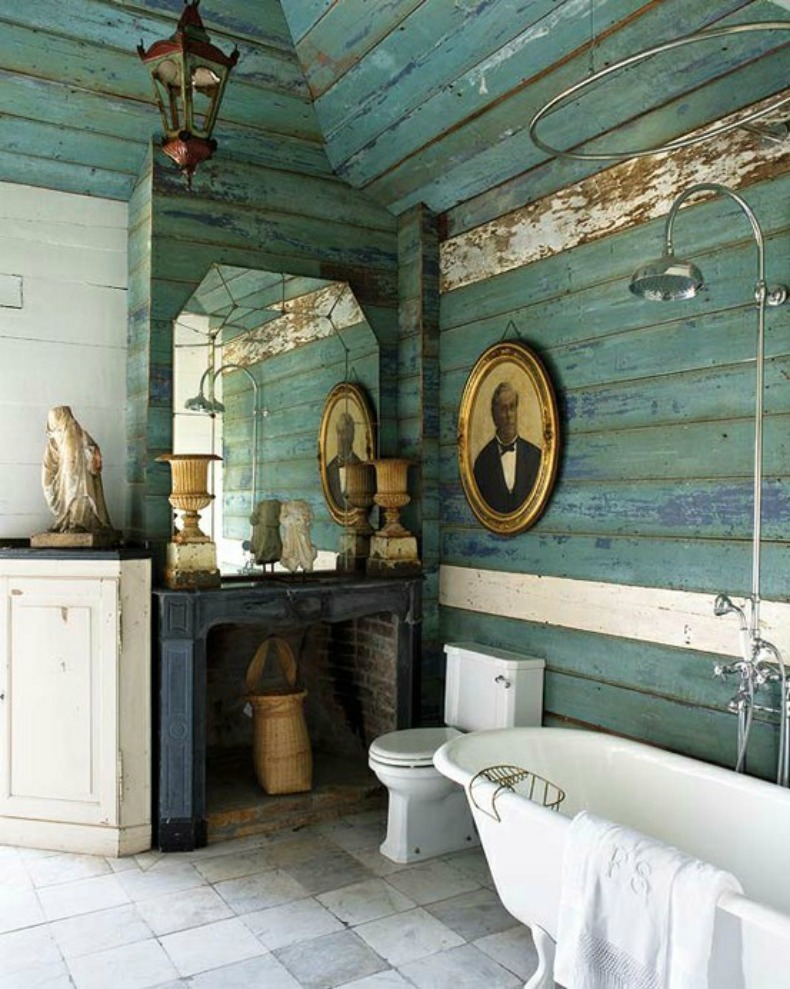 aqua washed painted wood wall coastal bathroom