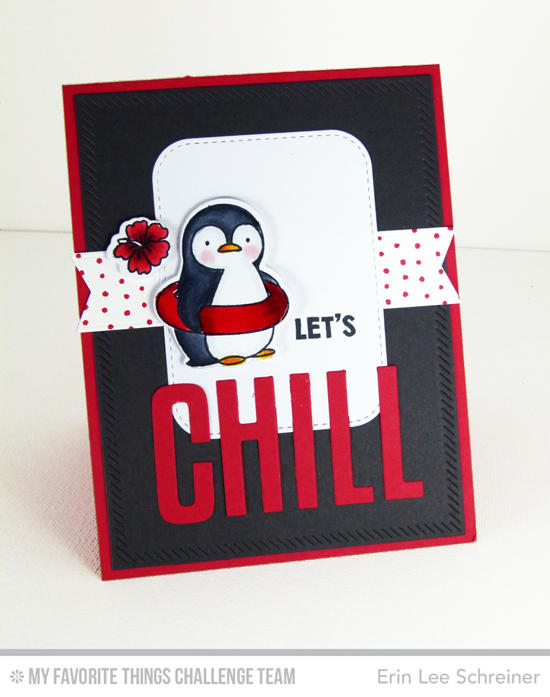 Cheery Chill Card by Erin Lee Schreiner featuring the Birdie Brown Penguins in Paradise stamp set and Die-namics, and the Stitched Rounded Rectangle STAX and High-Rise Alphabet Uppercase Die-namics #mftstamps