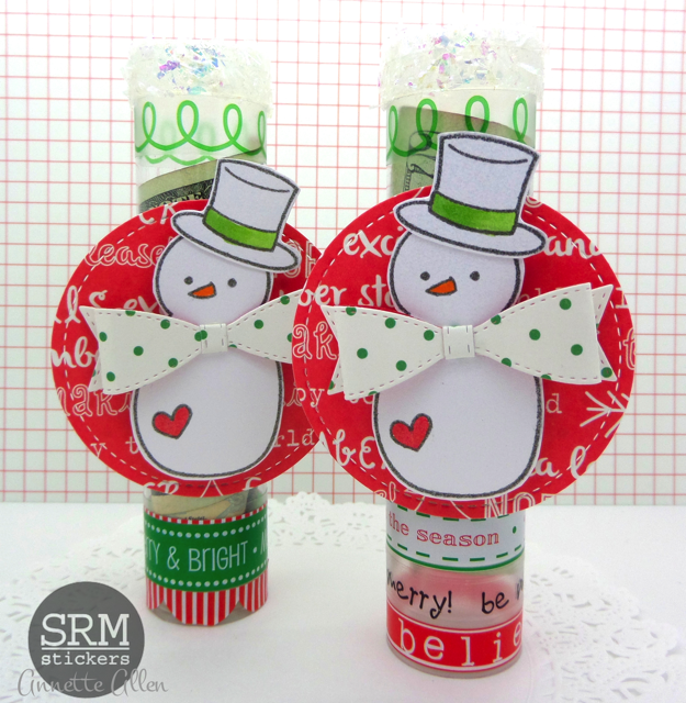 SRM Stickers Blog - Snowman Mini Tubes by Annette - #srmpress #srmstickers #stockingstuffers #tubes #containers #stickers