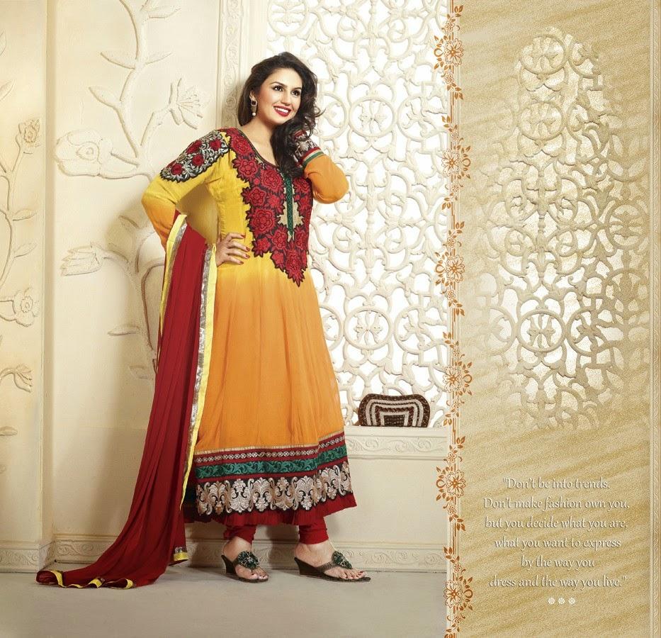 Huma Qureshi Style Mango Yellow and Maroon Net Anarkali Suit dress wallpaper