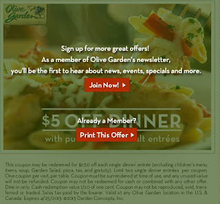 Olive Garden Printable Coupons June 2014