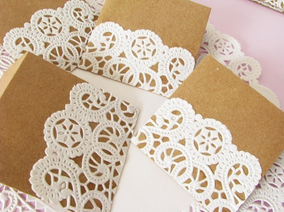 More ideas of cute doily-laced envelopes