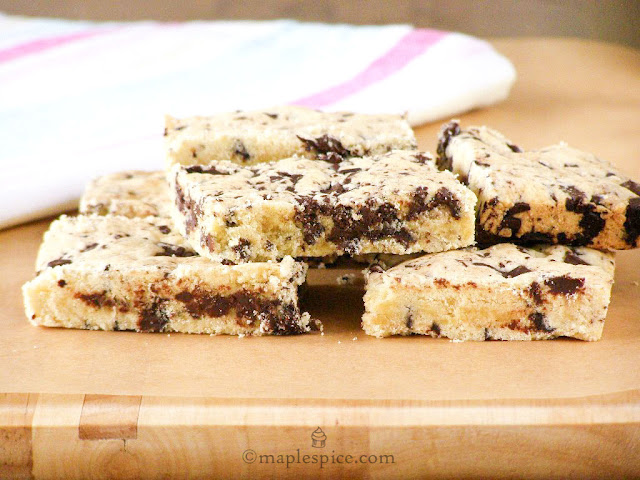Melt in the Mouth Vegan Chocolate Chip Shortbread Bars