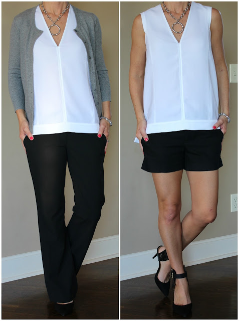 Banana Republic white crepe v-neck high/low top, black and white, what to wear, outfit ideas, business casual outfit, summer outfit