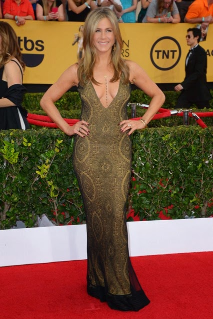 Jennifer Aniston in vintage John Galliano SAG Awards Red Carpet 2015
