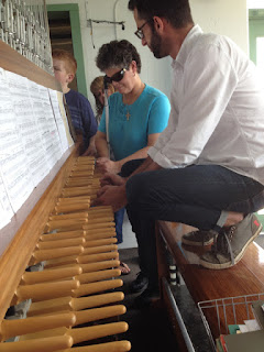 Laurel and Patrick at Carillon keyboard.