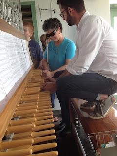 Laurel and Patrick at Carillon keyboard.