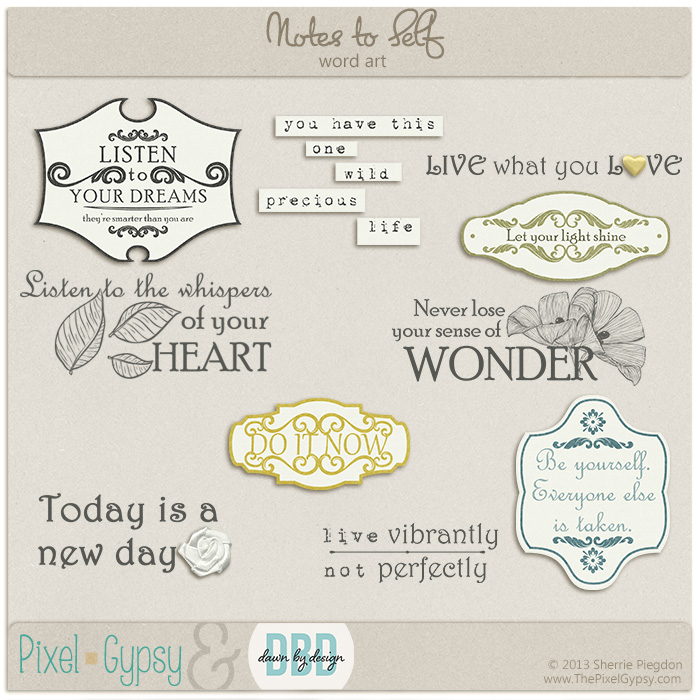 Notes to Self Digital Scrapbooking Word Art