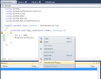 """Hexadecimal Display"" option in Watch Window"