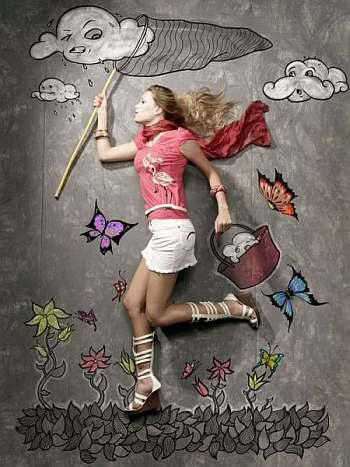 dziewczyna, marzenia, łapanie
