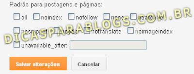 configuração de robos das postagens do blogger