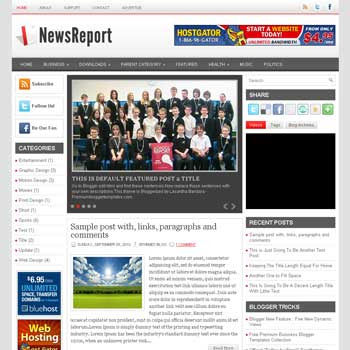 NewsReport blog template. template image slider blog. magazine blogger template style. wordpress theme to blogger