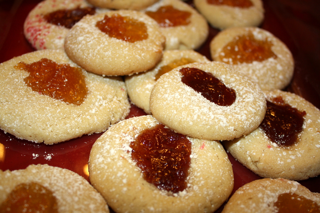 Strawberry and Apricot Jam Thumbprint Cookies