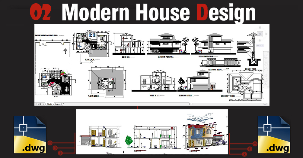 02 Modern Dwg Houses Design Package 06 Architecture Design Sketchup Dwg Tutorials