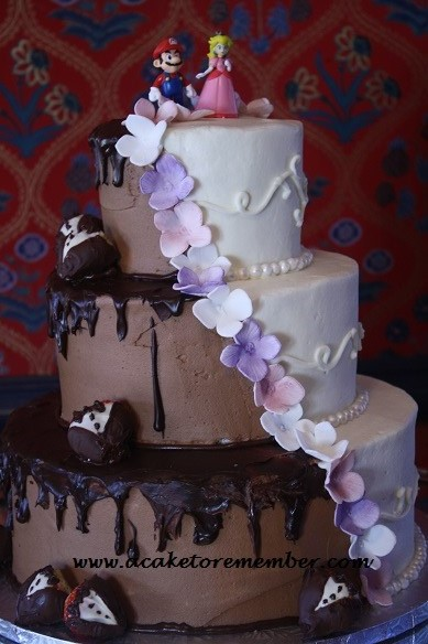 A Cake To Remember VA Half and Half Wedding Cake
