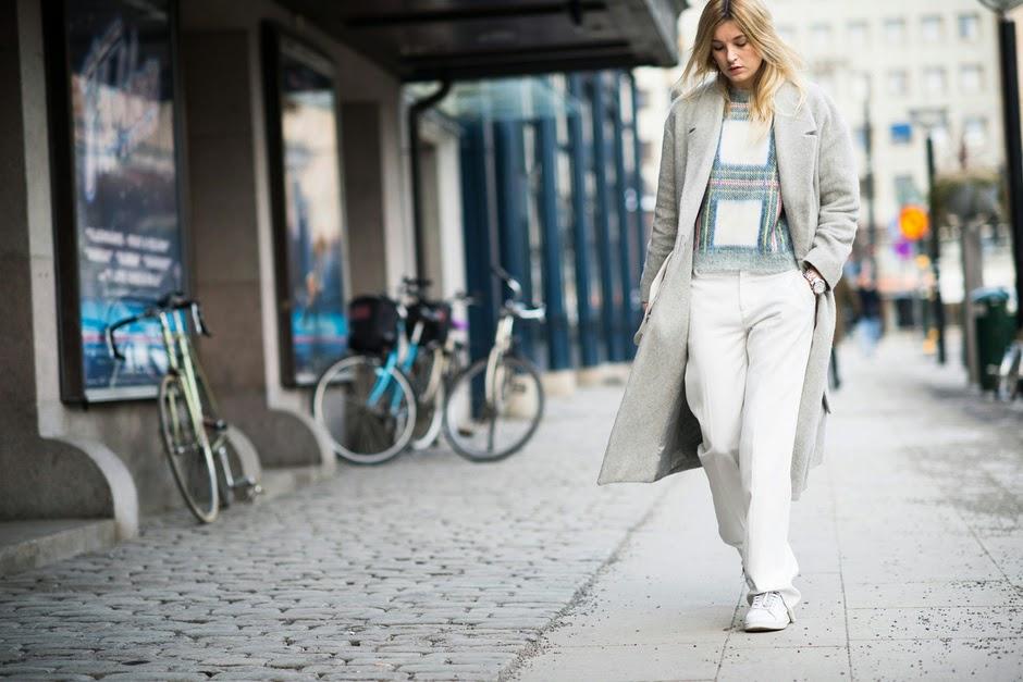 grey coat street style