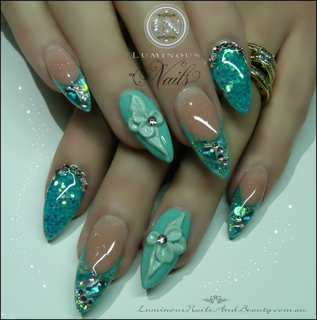 Pretty Turquoise Nails With