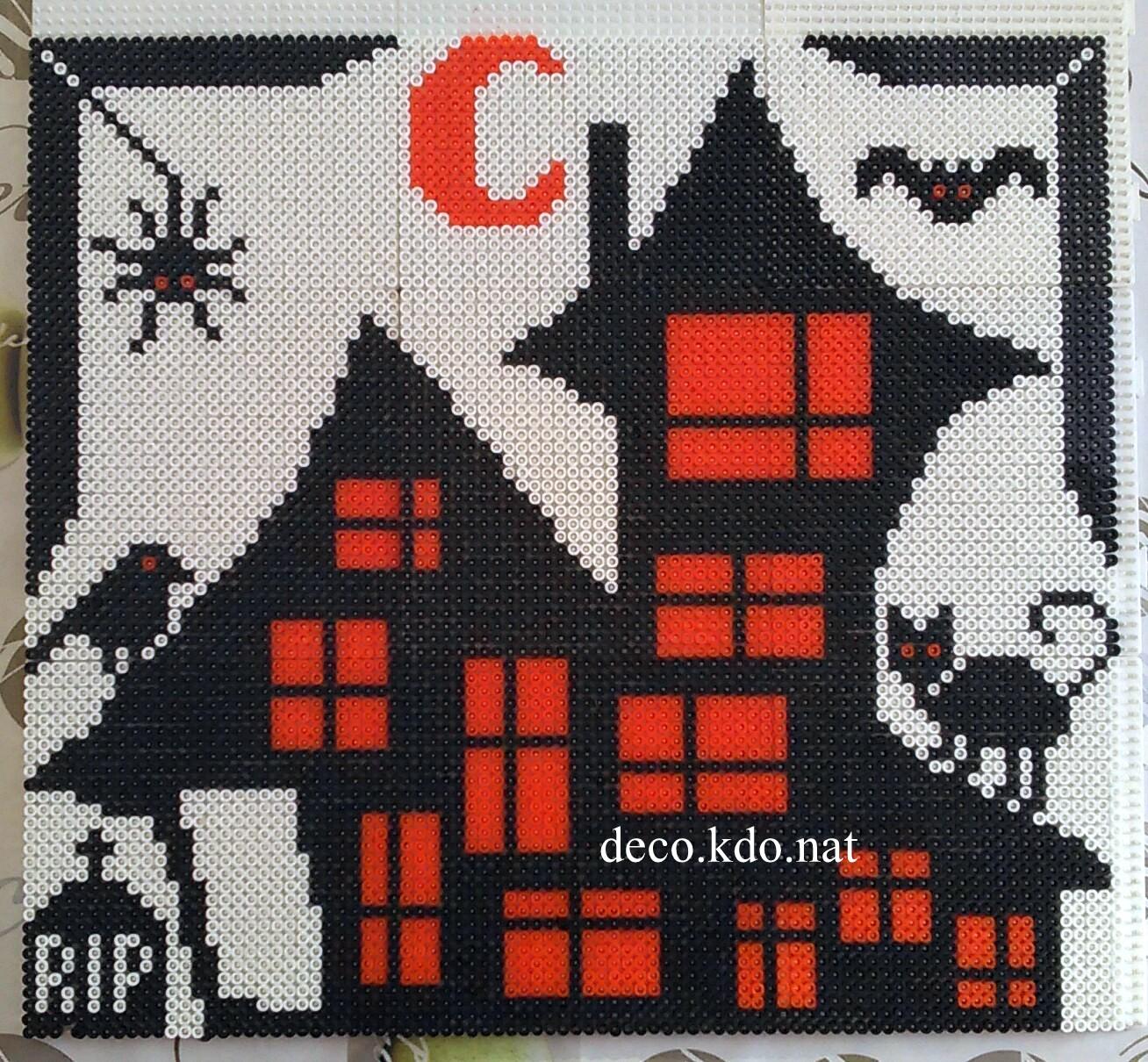 Decokdonat Perles Hama Tableau Halloween Maison Hantée