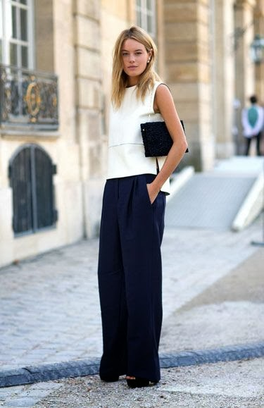 camille row harper's Bazaar paris fashion week spring 2014 navy trousers