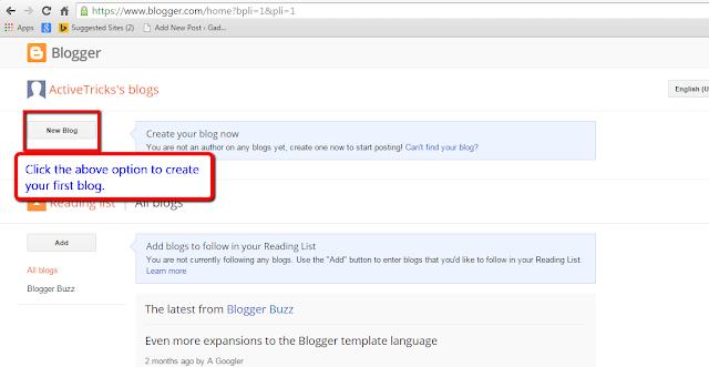Creating new blog via blogger.com