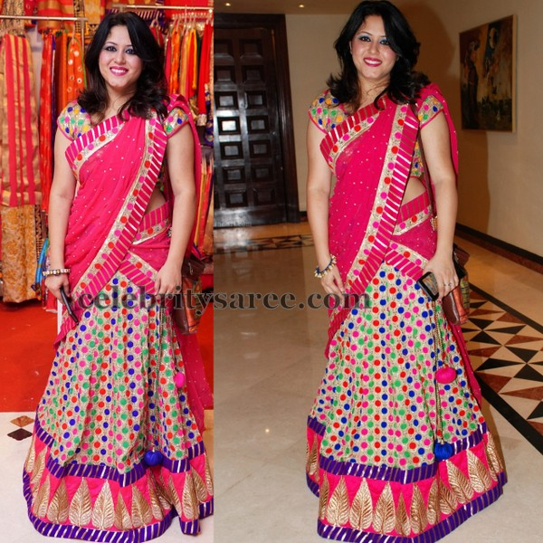 Multi Color Polka Dots Half Saree