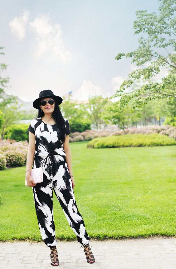 Jumpsuit With Sleeves, Macy's Jumpsuit, Brushstroke print Jumpsuit, Kate Sade 'Age of Innoncence' Clutch Emanuelle