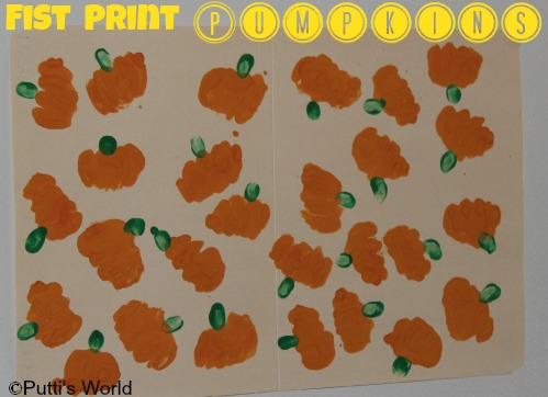 Fall Kids Art Fist Print Pumpkins