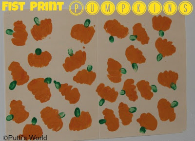 Fist Hand Print Pumpkins