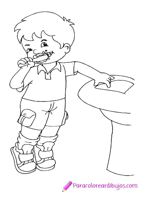 Niño lavandose los dientes para colorear