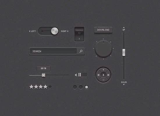 Detailed Dark UI PSD