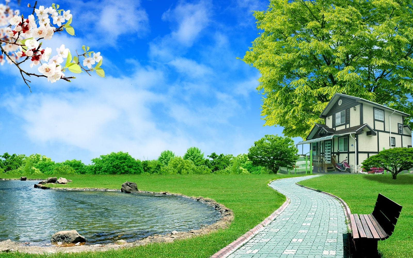 clovisso wallpaper gallery: house and pond wallpapers