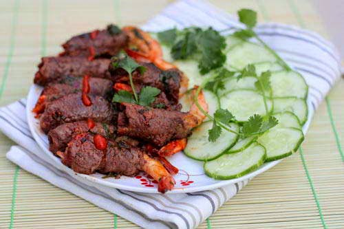 Vietnamese Food - Bò Cuộn Tôm Nướng