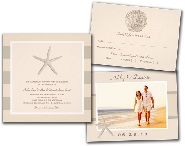 Wedding Invitation Ivory Starfish Stripes