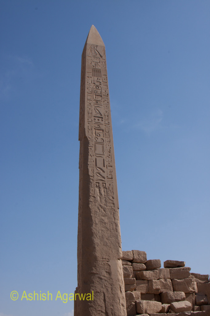 A view of the obelisk at the Karnak temple in Luxor