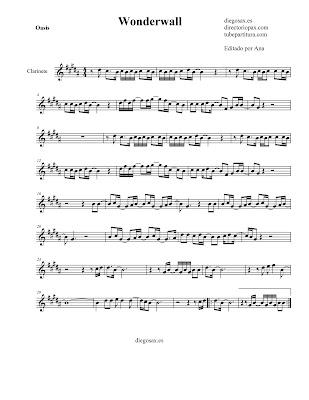 Partitura Wonderwall de Oasis para CLARINETE sheet music clarinet También sirve para Saxofón Tenor y Saxo Soprano
