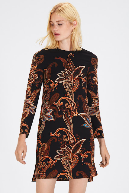 warehouse paisley dress, black paisley dress,