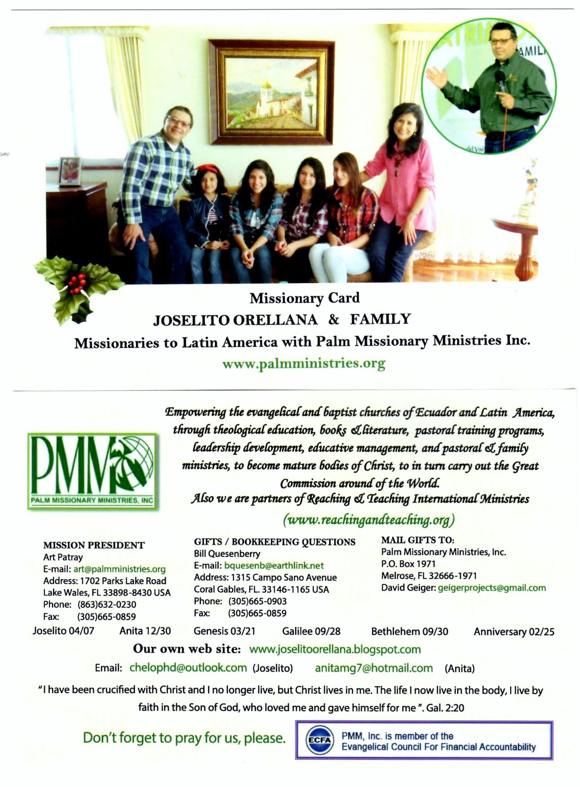 Our Missionary Card, PMM Inc., USA