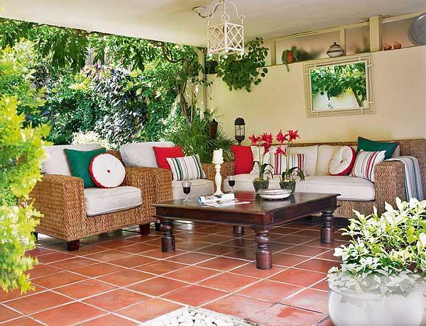 Espa os ao ar livre alpendre ou marquise decora o e - Ideas para decorar un porche cerrado ...