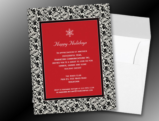 Damask Framed Holiday Party Invitations