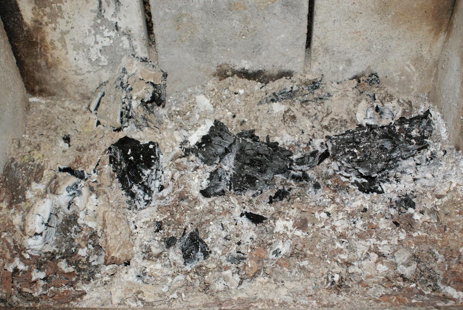 Popiół po spalaniu drewna, Sporo niedopalonych kawałków i duża ilość samego popiołu.