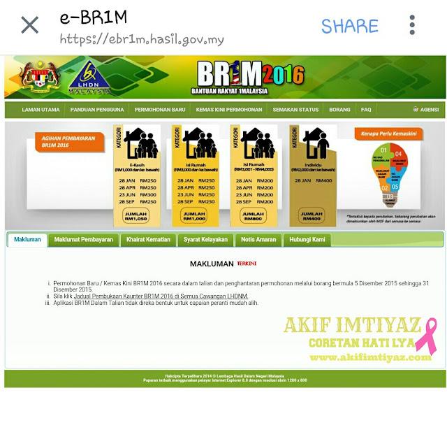 Permohonan Baru Dan Kemas Kini BR1M 2016