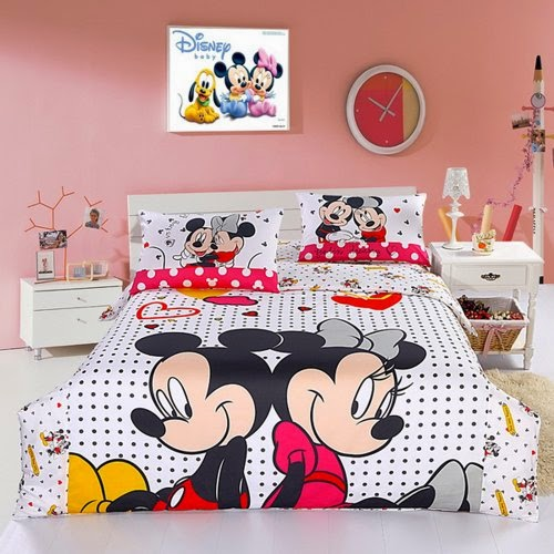 Mickey and Minnie Mouse Queen Cartoon Bedding Set