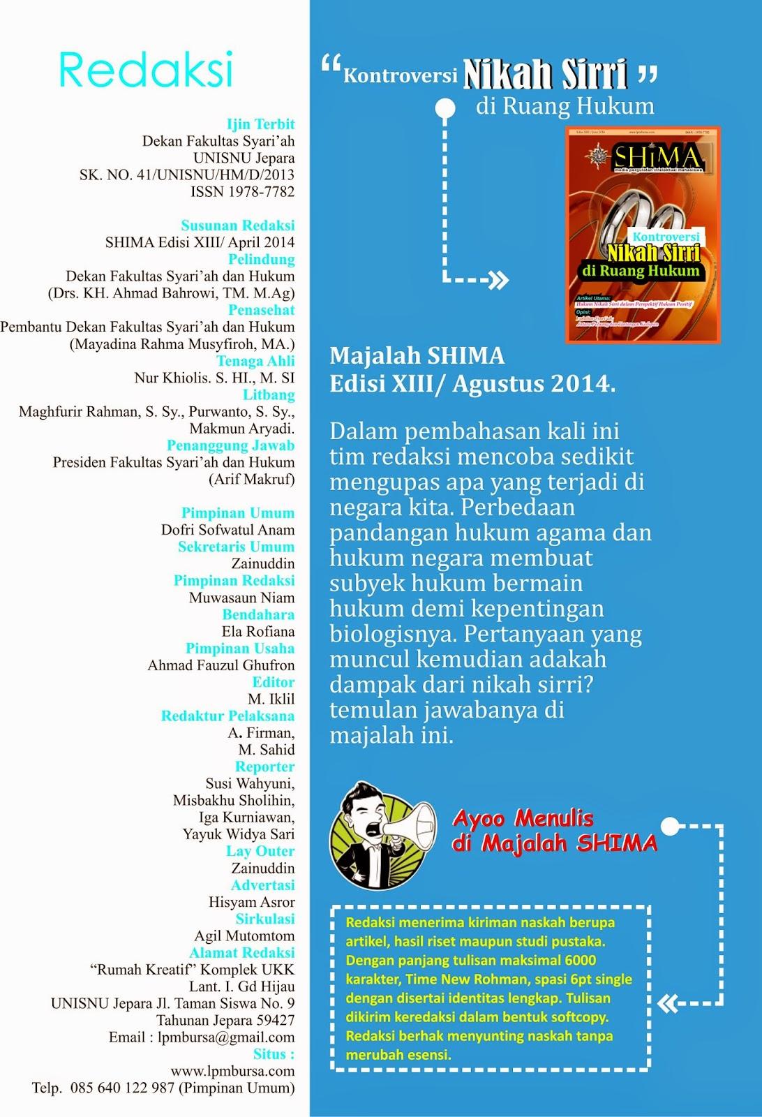keredaksian, majalah SHIMA, Kumpulan Majalah SHIMA, UNISNU