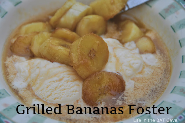 Easy Grilled Bananas Foster Dessert Recipe via Life in the BAT Cave