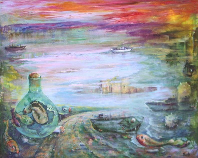 Sueño marino, cuadro al óleo del fondo del mar con bestias surrealistas de la pintora Rudi.