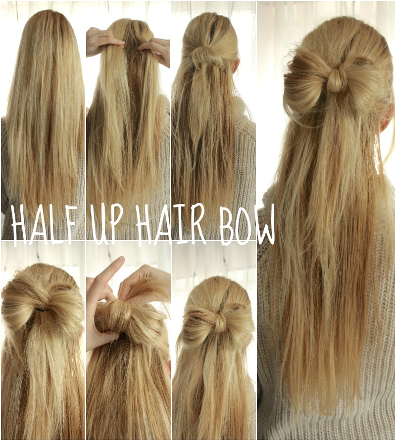 Christmas Hairstyle Half up Hair Bow easy tutorial
