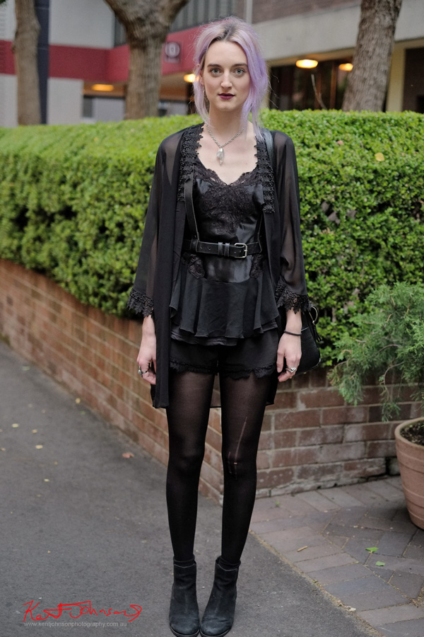 Gothic Style, Black Satin and lace, black stockings and boots, frayed black shorts - Sydney.